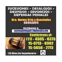 Abogados divorcios despidos desalojos penal suceciones 4305-6373